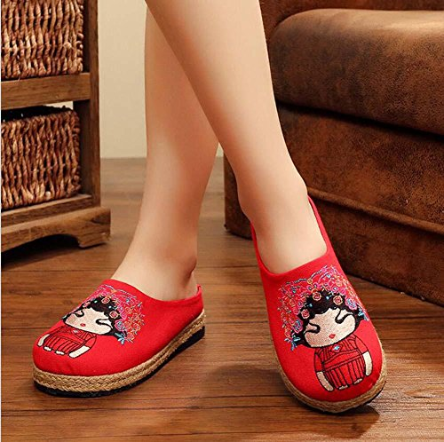 Women Flat 40 Anti Peking Shoes Eu Flax Red Opera Size Slippers Closed Pump Cloth 35 Mules Casual Shoes Skid Embroidery Toe qw4XBzHP7W