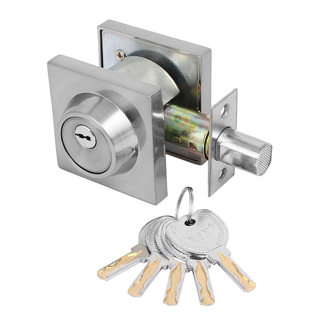 uxcell Home Bedroom Doors Square Shape Single Cylinder Deadbolt Security Keyed Lockset