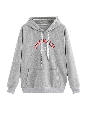 80abb218b8514 Sweat-Shirts à Capuche Ado Fille Sweat Capuche Femmes Broderie Lettre Los  Angeles Automne Sport Pull Oversize Printemps Chic Manteau Pas Cher Mode  Pullover ...