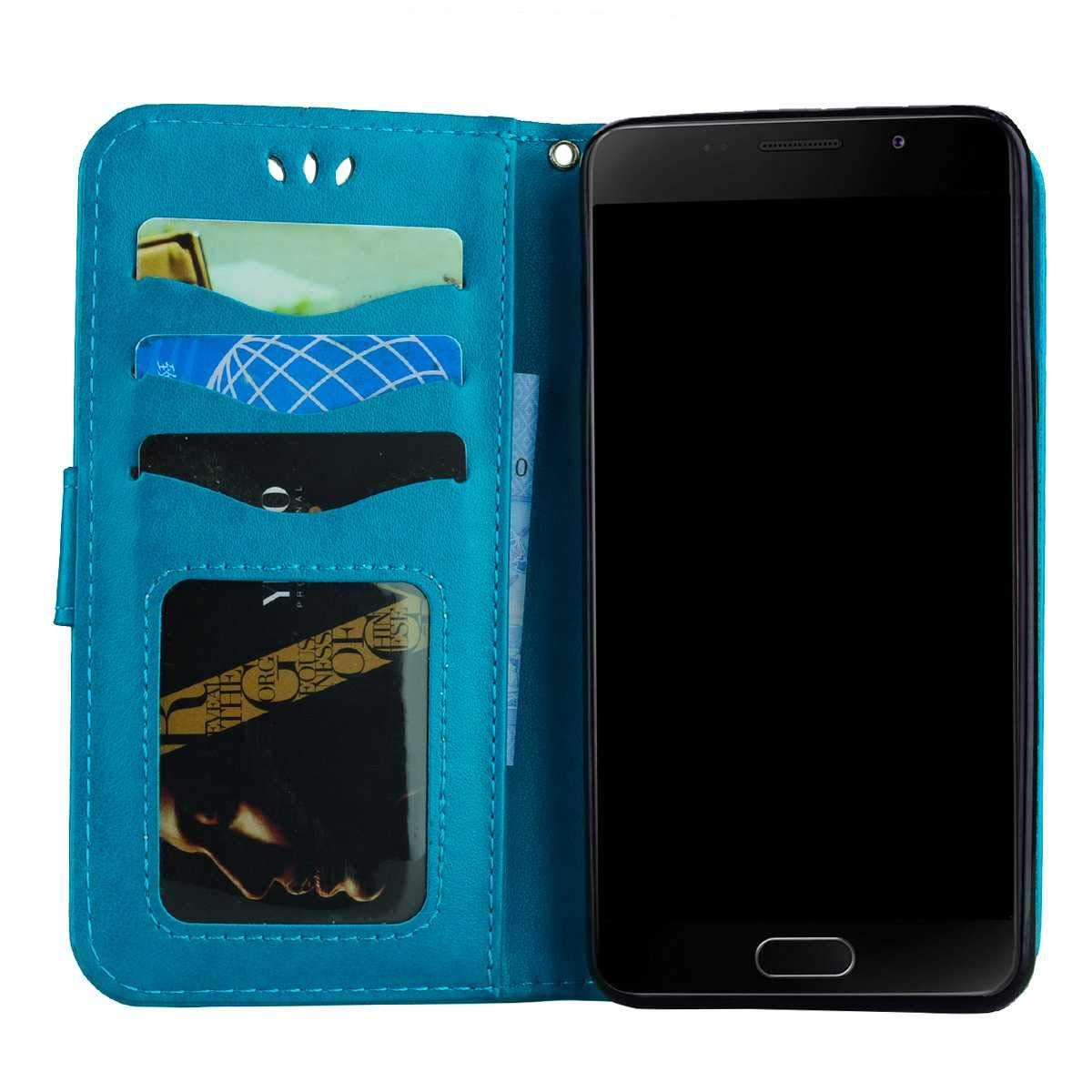 DENDICO Coque Galaxy A3 2016 Bleu Folio Souple TPU Bumper de Protection Mince Pochette Etui Housse en Cuir PU /à Rabat pour Samsung Galaxy A3 2016