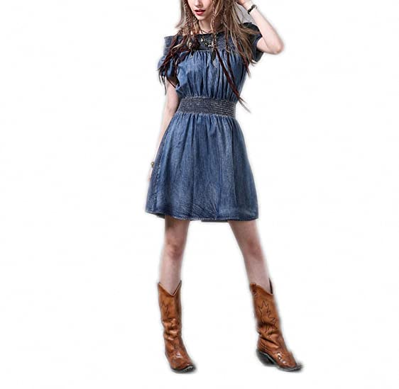Slash Neck Dress Womens Vintage Denim A-Line Cute Casual Dress