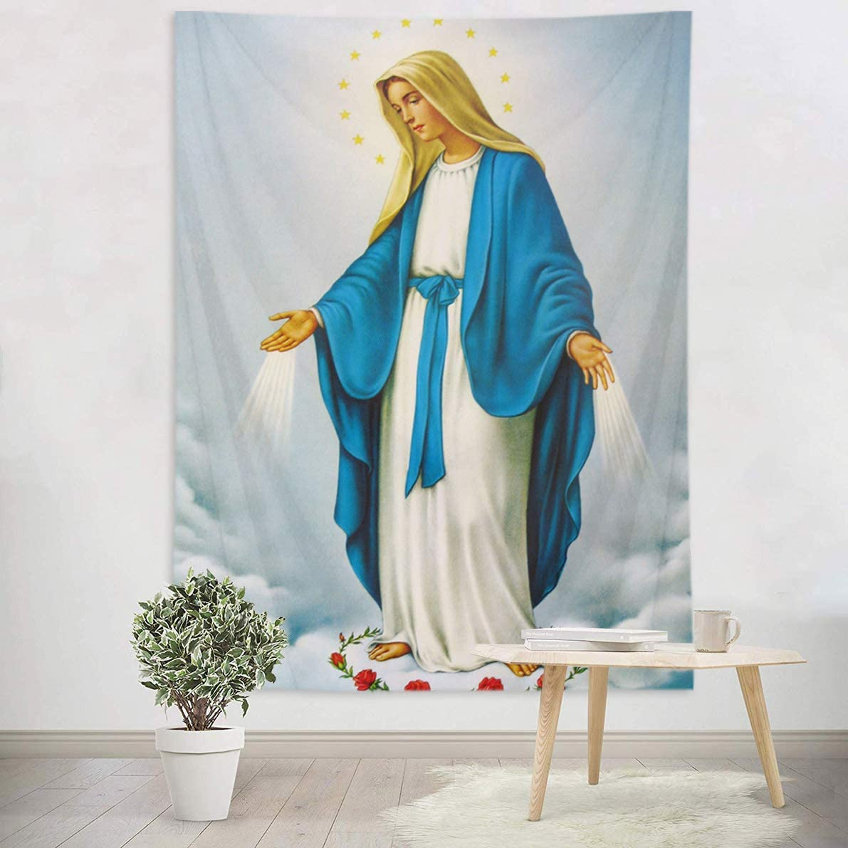 HVEST Blessed Virgin Mary Tapestry Mother of God Tapestry Wall Hanging Christian Wall Art Decorations Jesus Christ Wall Tapestry Holy Mary Backdrop for Bedroom Room Dorm Decor,80Wx60H inches