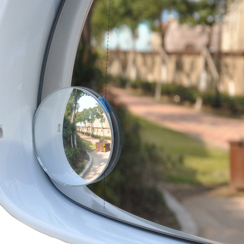 White Car Rearview Mirror,Quaanti Car-Styling New Hot Two 2 Inch Stick on Rearview Blind Spot Convex Mirrors Thin