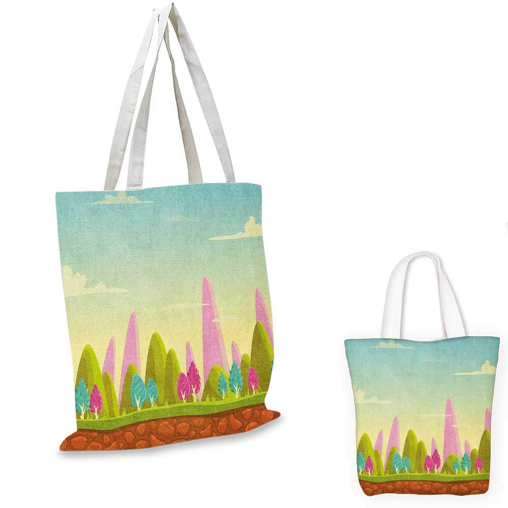 12x15-10 Forest canvas messenger bag Native Chinese Woodland Leaves from Ginkgo Trees Pastel Silhouettes canvas beach bag Teal Turquoise and Cream
