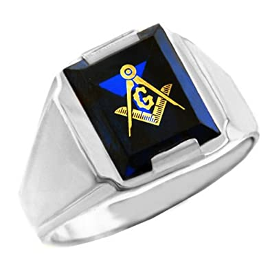 015317cc3887d Men's 10k White Gold Freemason Blue Stone Square and Compass Masonic ...