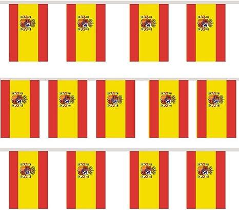 TRIXES 12 Piezas Empavesado Guirnalda Rectangular Bandera de España Celebraciones Nacionales: Amazon.es: Deportes y aire libre