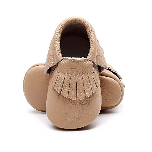a629b3f15a Bebila Baby Moccasins with Gold Bow Tassel First Walker Toddler Genuine  Leather Shoes for Boys Girls