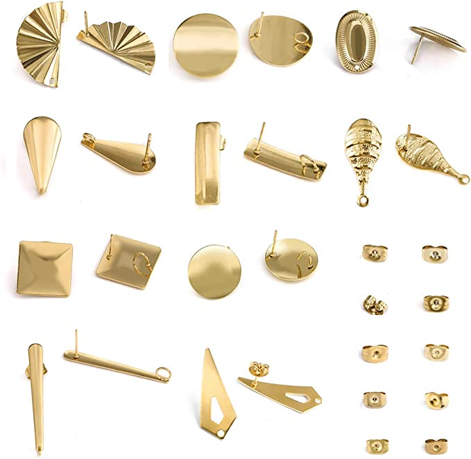 Stainless Steel Post,Earring Findings 6mm8mm10mm12mm Brass Flat Pad 10 pcs Round Earring Post Studs with Loop,18K Gold Plated
