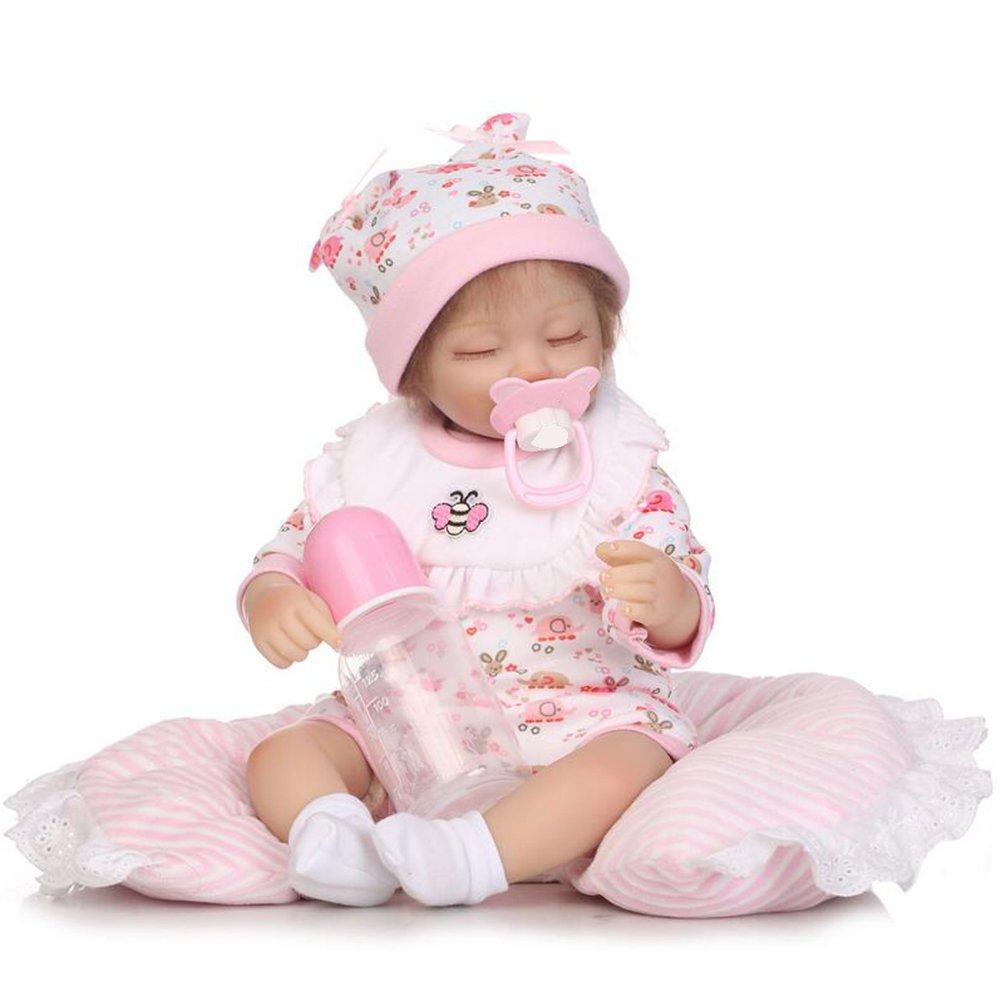 Doll Hmhope Lindo SimulacióN Renacer Bebé MuñEca PañO Cuerpo Mohair Ojos Cerrado Con MagnéTica Chupete Juguete Botella NiñO Jugar Juguetes Regalo 15.7 Inch/40cm