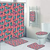 Bathroom 5 Piece Set Shower Curtain 3D Print,Magical,Mythical Flying Unicorns with Wings Rainbows and Stars Pattern Nursery Themed Girls Room,Multi,Bath Mat,Bathroom Carpet Rug,Non-Slip,Bath Towls