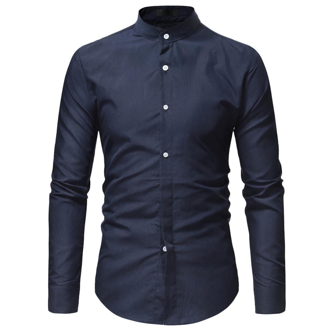 AmyDong Men Casual Shirt Long Sleeve Business Slim Dress Shirt T Shirt Top Two Pairs of Personalized Double-Shirt (2XL, Navy A)