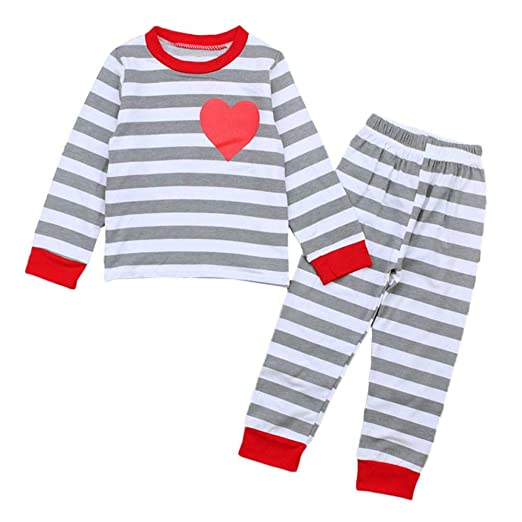 e74022a7d9 Amazon.com  Outtop(TM) Kids Baby Autumn Coat Toddler Infant Boy Girl Strip  Heart Tops Pants Outfits Set Pajamas Sleepwear  Clothing