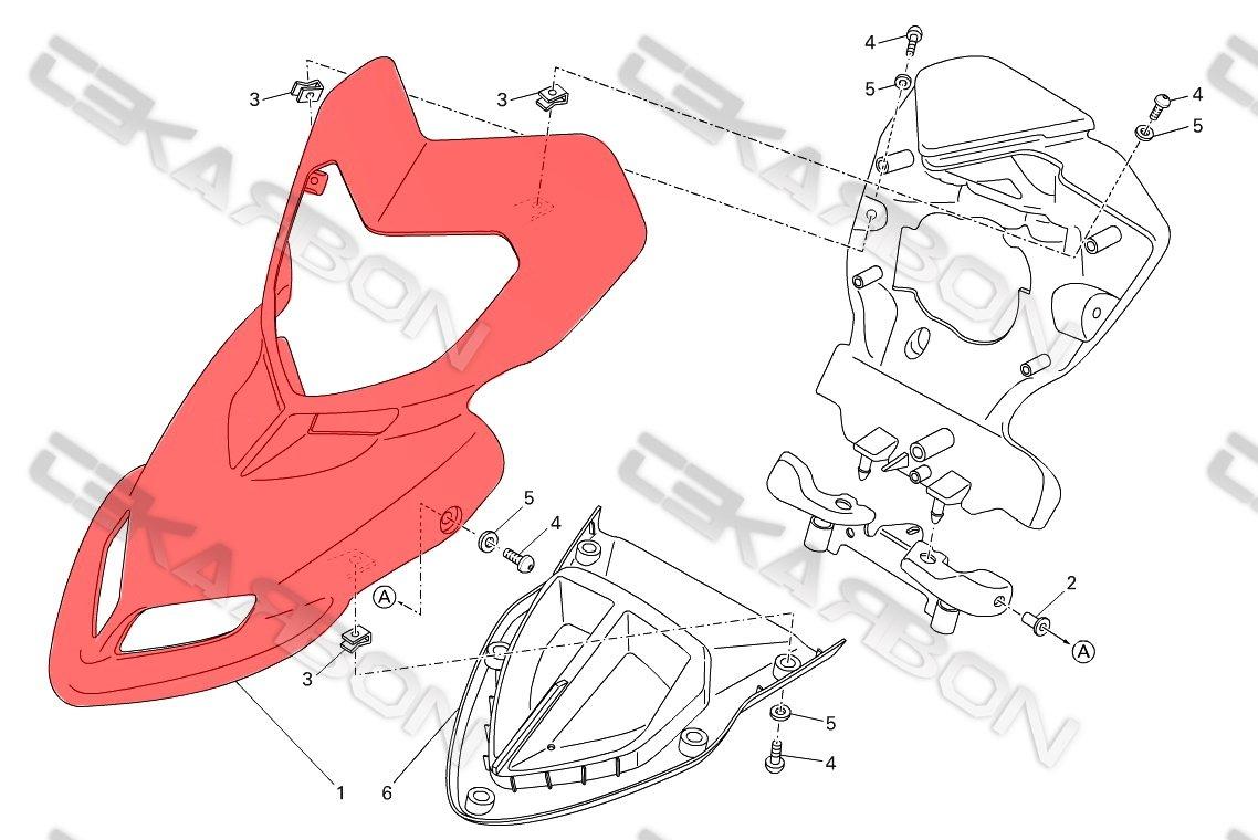 2008 - 2012 Ducati Hypermotard 796 1100 (s) Carbon Fiber Front Fairing