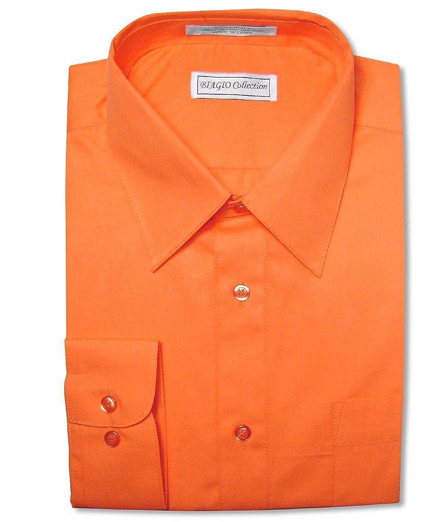 Biagio Mens 100 Cotton Solid Burnt Orange Dress Shirt W