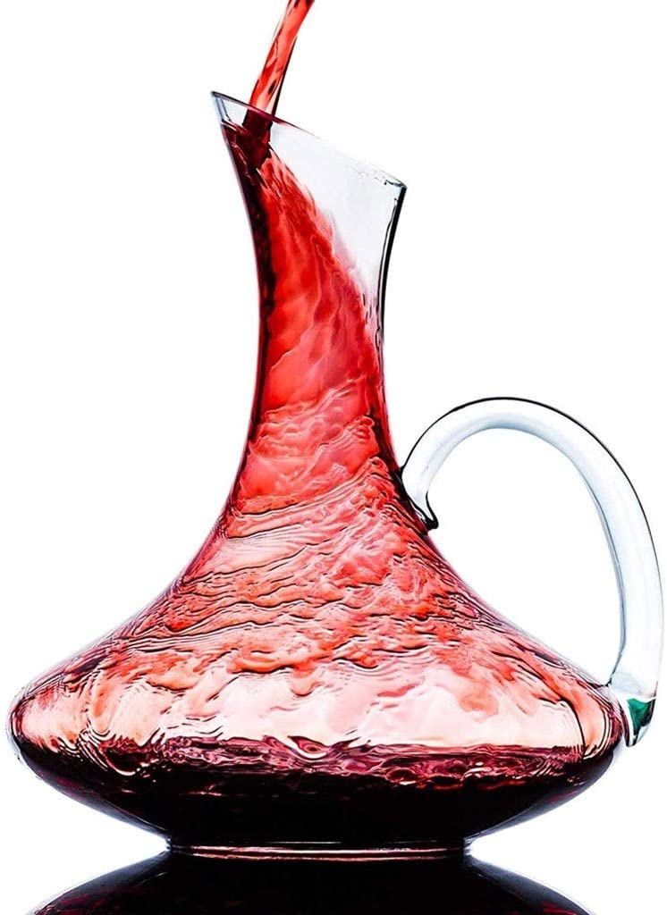 Wine Decanter 1800 Ml (60.8 Oz) Crystal Glass/Wine Bottle With Handle