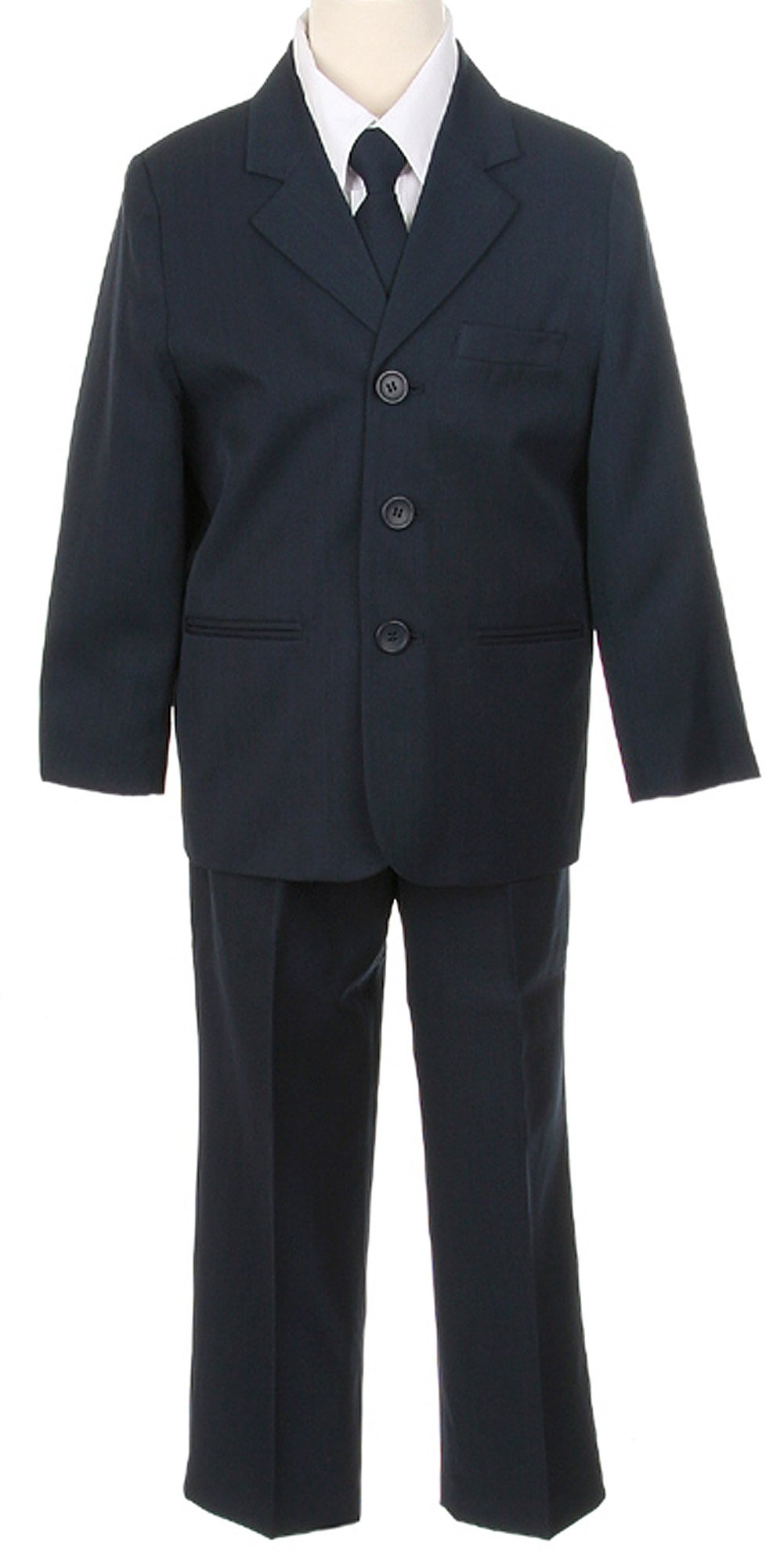 Boys Three Button Single Breasted Formal Suit 5-Piece - Navy - Size 12 by COLE