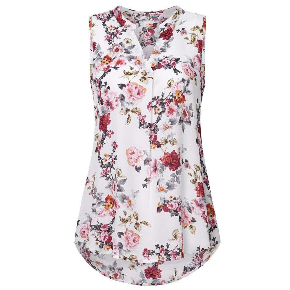 TADAMI Women's Henley V Neck Sleeveless Curved Hem Chiffon Blouse Shirts Tank Tops
