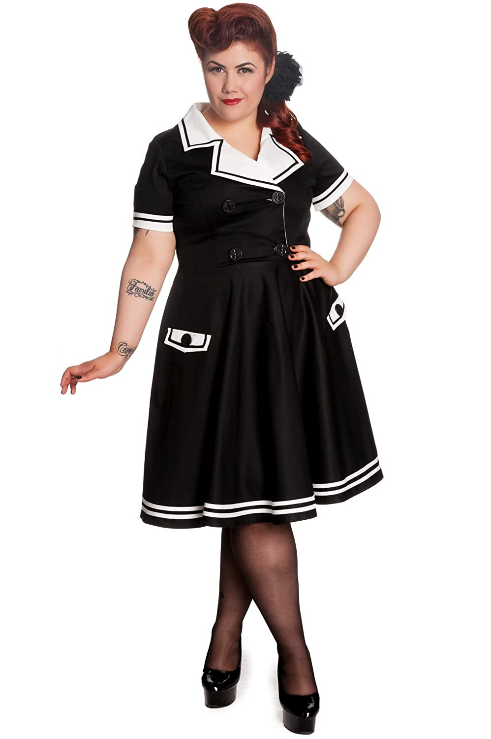 Hell Bunny Plus Pinup Nautical Double Breasted Sailaway Black Sailor Dress (2XL)