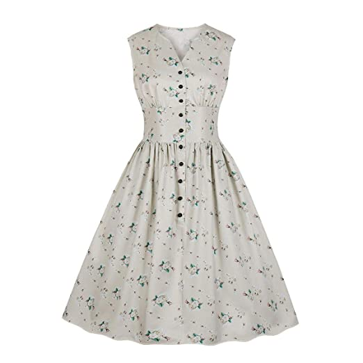 fd105a5fc5a28 Wellwits Women's Split Neck Floral Button 1940s Day 1950s Vintage ...