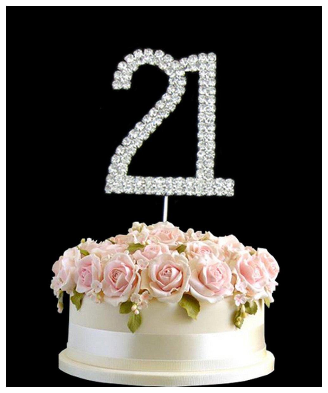 Rhinestone Crystal Birthday Cake Topper Number Pick 21st Diamante