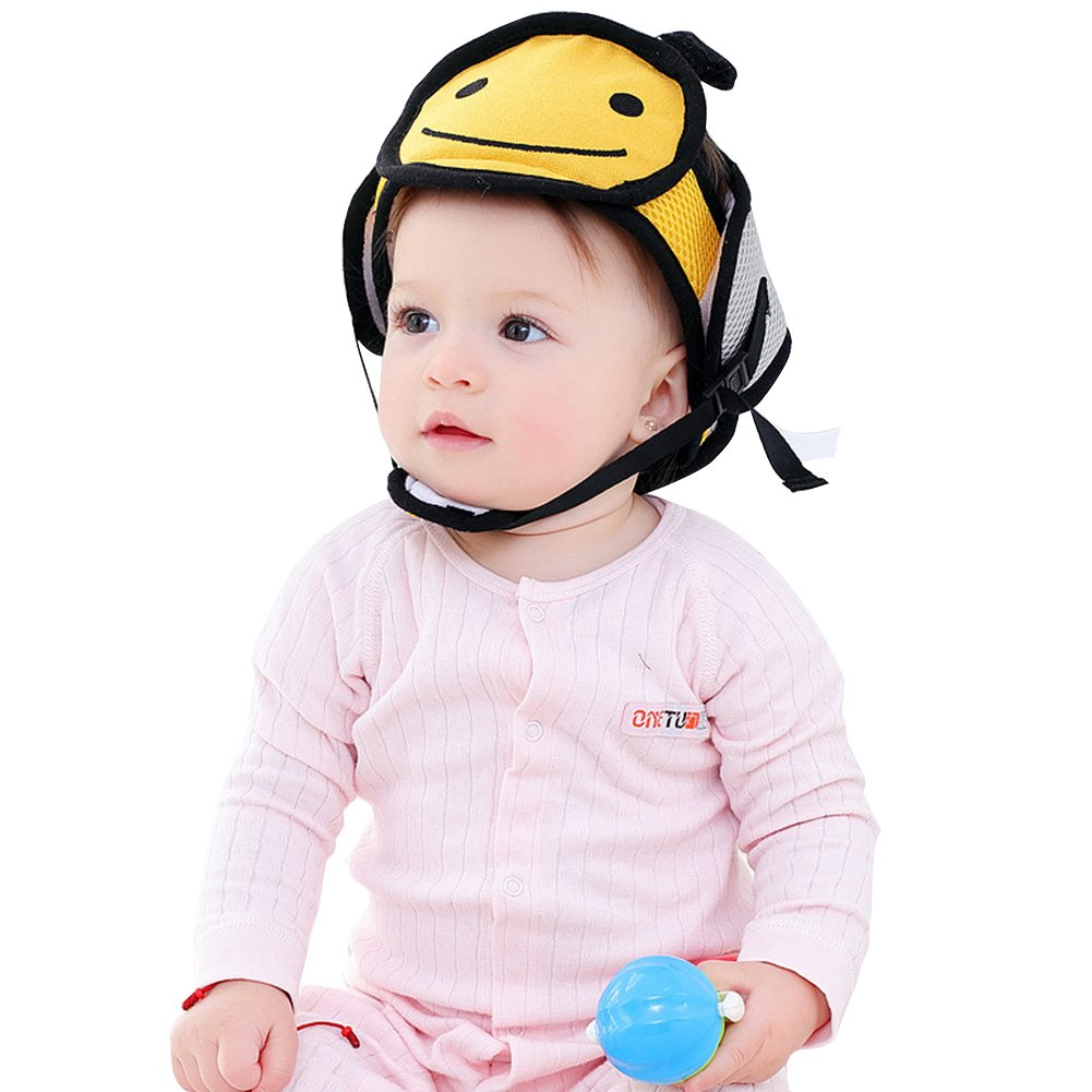 Per Baby Head Protector Helmet Lovely Cartoon Animal Shape Safety Head Guard Cushion With Adjustable Straps And Chin Pad Protection Cap Harnesses Hat For Infant Toddlers Learn to Walk and Sit (Cat)