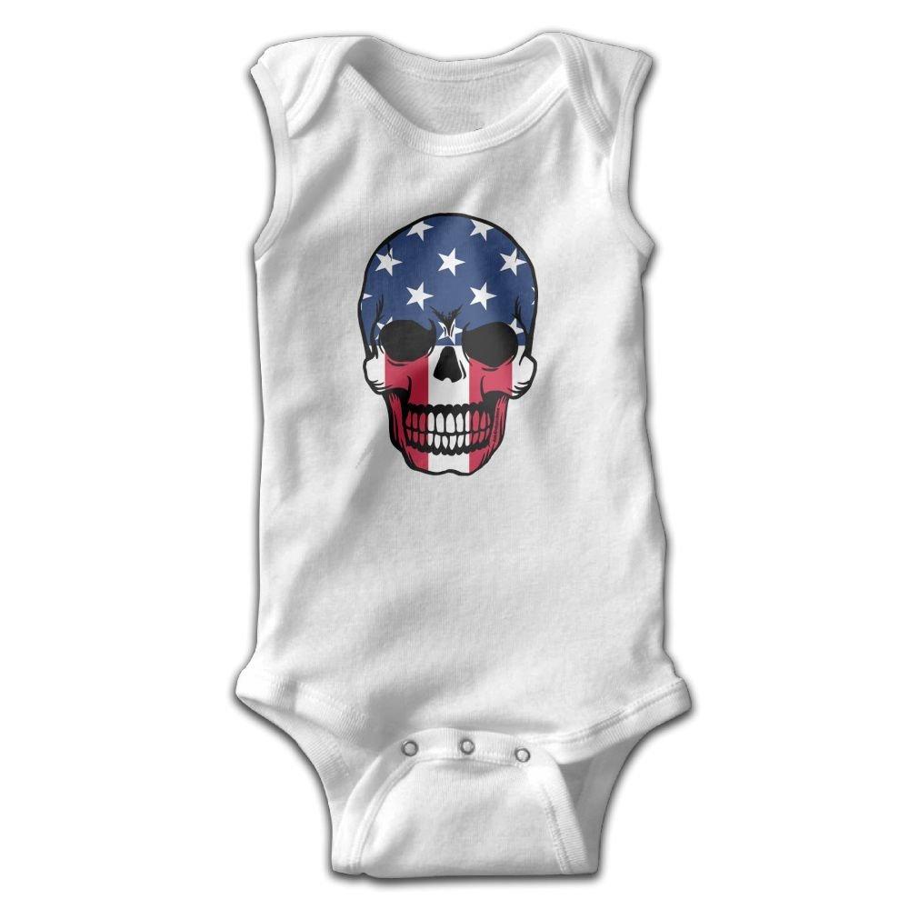 Patriotic Skull Sleeveless Crawling Jumpsuit Rompers