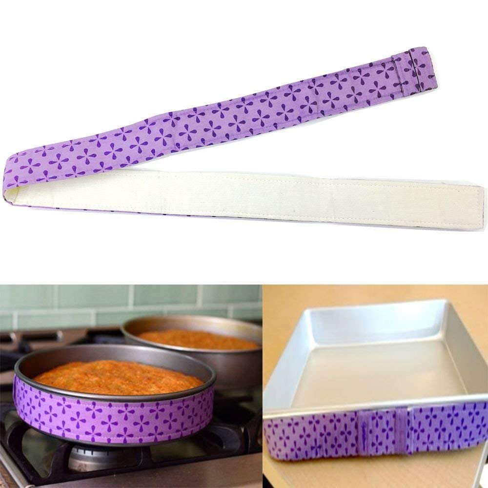 Cake Pan Dampen Strips 2 PCS Super Absorbent Thick Cotton 1 PCS Bake Even Strip Purple Tuscom Ultimate Cake Decorating Supplies Pastry Tools Baking Tool Cake Decorating