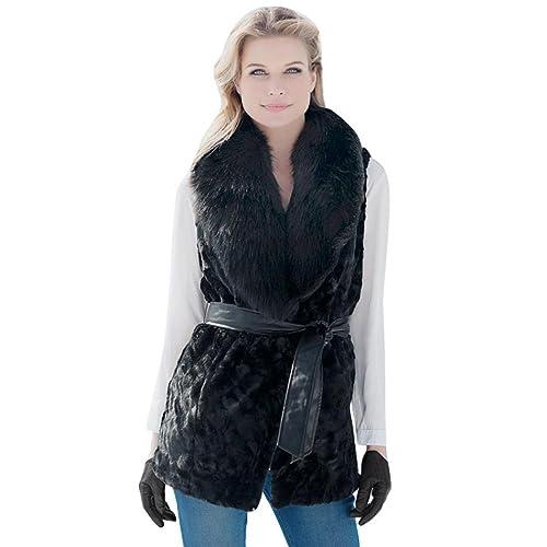 Koly Mujeres Chaleco sin mangas abrigo de pelo largo Chaleco chaqueta Ropa de abrigo Piel sintética ...