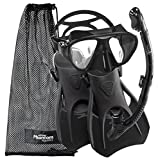 Phantom Aquatics Speed Sport Signature Mask Fin Snorkel Set, All Black, Small/Size 4-7
