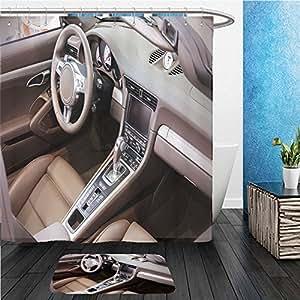 Beshowereb Bath Suit: ShowerCurtian & Doormat dark luxury car interior steering wheel shift lever and dashboard 308321690