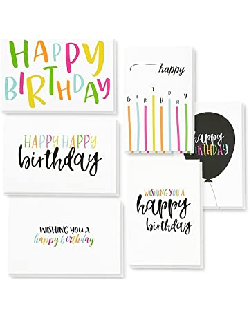 48 Pack Happy Birthday Greeting Cards 6 Handwritten Modern Style Colorful Designs Bulk Box