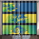 UHOO2018 rio de janeiro horizontal banners poster template set isolated on black background with rubber Room Bedroom Curtains 2 Panels for Kids Room Window Treatments 84x108 Inche