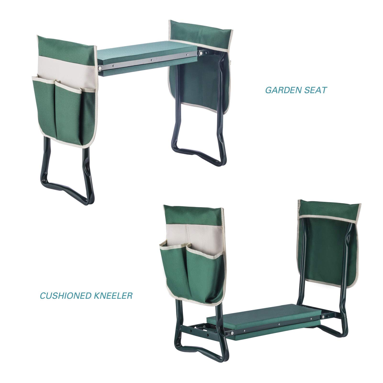 YANEE Foldable Kneeler Garden Bench Stool Soft Cushion Seat Pad Cushion Kneeling, Tool Pouch, Material: Steel Pipe, EVA, Dimensions: 22 3/4'' W × 11'' D × 19 1/3'' H by YANEE (Image #7)