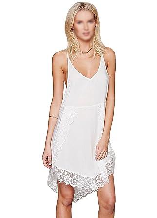 Milya Damen Sling Strandkleid tiefem V-Ausschnitt Öffnen Rückseite Baumwolle  und Lace Strand Bikini Badeanzug
