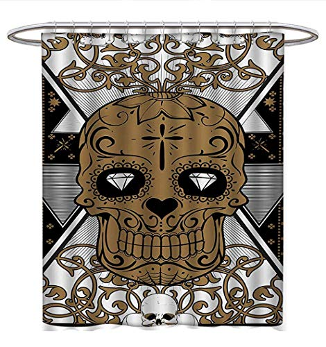 Anhuthree Tattoo Shower Curtains Fabric Skull with Diamond Eyes and Floral Theme Vine Art Tattoo Renaissance Inspired Bathroom Decor Sets with Hooks W48 x L72 Brown and Black (Floral Hydra Eye)