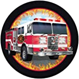 """Custom & Unique {7"""" Inch} 8 Count Multi-Pack Set of Medium Size Round Circle Disposable Paper Plates w/ Fire Watch Flaming Fire Truck Birthday Party """"Red, Orange, Black & White Colored"""""""