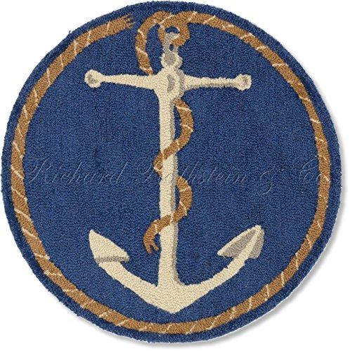 - Handmade 100% Wool Decorative Coastal Blue and White Ship's Anchor Nantucket Cape Cod Style Maritime Decorative Nautical Beach House Shore Hooked Rug. 31