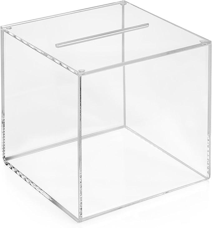 Votaciones/urna para 150 x 150 x 150 mm transparente, cristal acrílico/Dona Caja/ranura Caja/sorteo parte Caja/urna/acrílico – zeigis®: Amazon.es: Oficina y papelería
