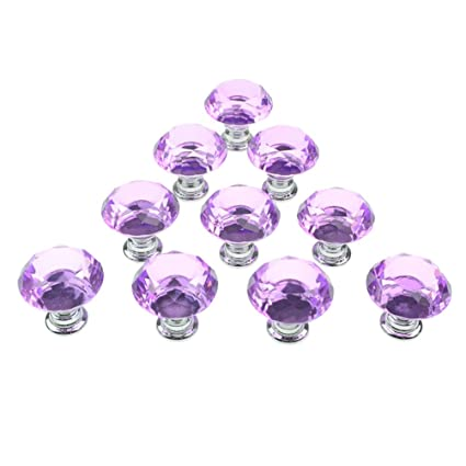 Charmant Dxhycc 10pcs Purple 30mm Flat Round Crystal Glass Cabinet Knobs Cupboard  Drawer Pull Handles