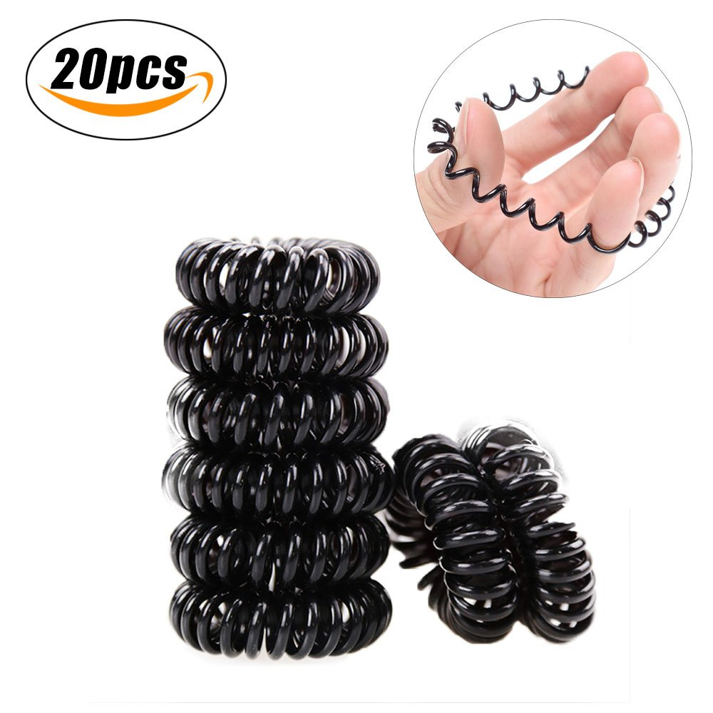 Spiral Hair Ties Traceless Hair Rubber Bands No Crease Elastic Coil Ponytail Holders,BEST QUALITY, 20Pcs (Black) Runola