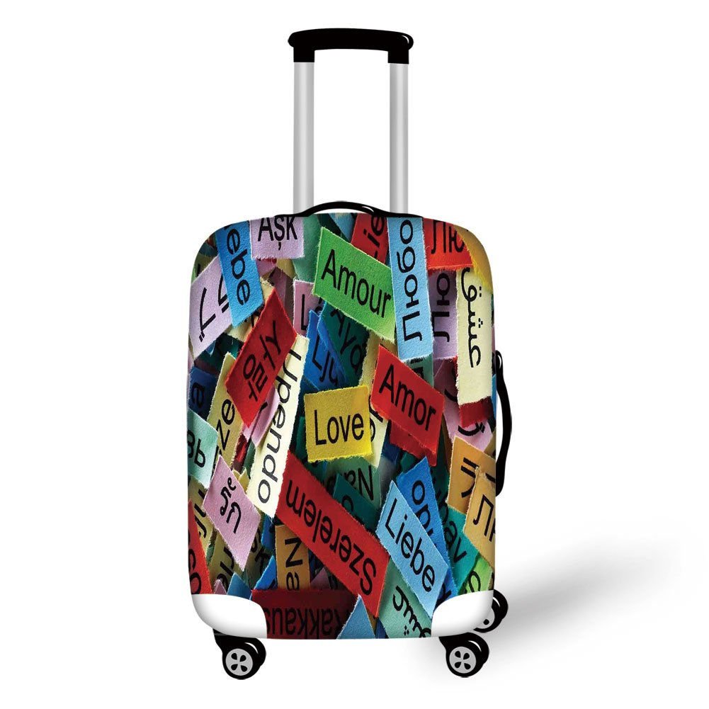 Travel Luggage Cover Suitcase Protector,Love Decor,Love Word Cloud Collection in Different Languages French Japanese All Common Personal Artsy Work,Multi,for Travel by iPrint (Image #1)