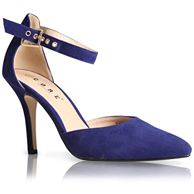 745912590c93 WOMENS LADIES ANKLE STRAP POINTED TOE PARTY HIGH HEEL COURT SHOES SIZE 3-8   Amazon.co.uk  Shoes   Bags