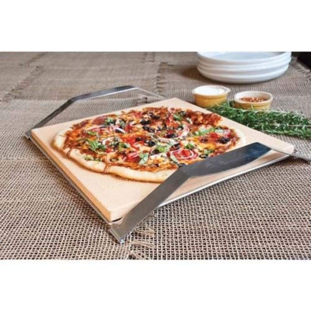 Stainless Steel Frame Brick-Lined Cordierite Pizza Pie Rack Baking Grill Stone