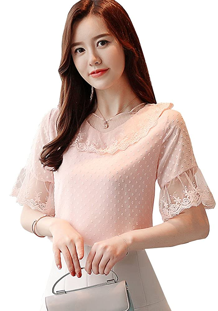 68621601029f6 Sheicon Women Lace Ruffle Short Sleeve Elegant Chic Pullover Tops at Amazon  Women s Clothing store