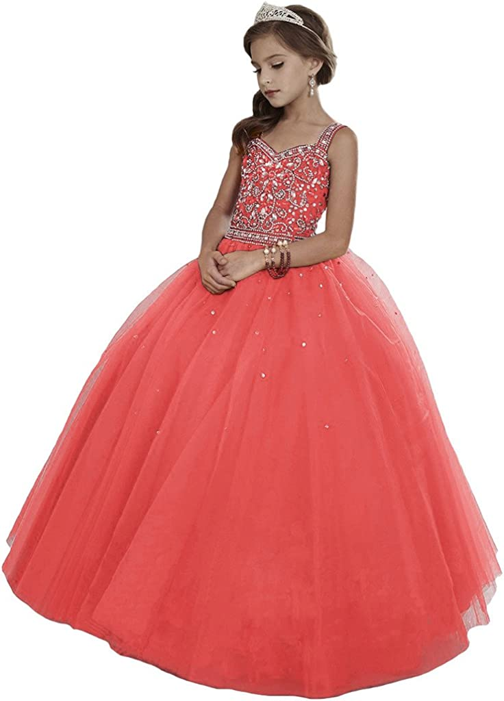 HuaMei Girls' Princess Max 60% OFF Tulle Beaded Pag Flower Ball Straps Gowns At the price of surprise