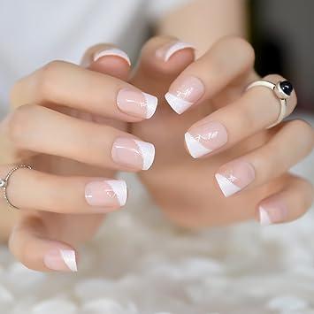 Amazon.com : Natrual Nude White V French False Rhinestones Glitter Decor Nail Tips Full Acrylic Artificial Press On Wear Uv Fake Nails L5039 : Beauty