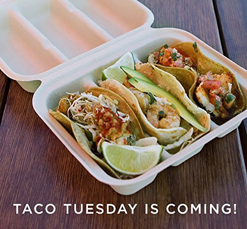 WC Compostable Plant Fiber 8x7x3 Equal Three Compartment Take Out Containers (Taco Box). Case of 300. ()