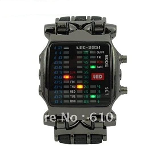 Passion Time TVG Brand Fashion Matrix Super Cool 21 Colorful LED Digital Binary Wrist Watches Military
