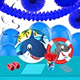 Sharks Childrens Birthday Party Supplies - Tableware and Decoration Pack (16)