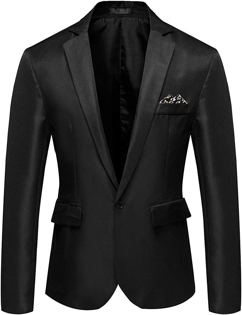 YOUTHUP Mens Blazers Single Breasted Stylish Suit Jacket Casual Chic Coat